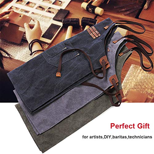 Reliancer Luxury Canvas Work Apron Heavy Duty Water Resistant Tools Aprons w/Pocket&Adjustable Cross-Back Straps Anti-oil Workshop Woodworking Apron for Carpenter Painter chefs BBQ Men & Women