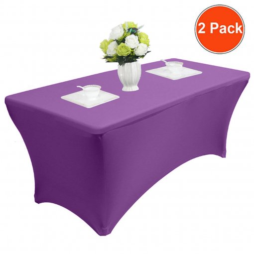 Reliancer 4\6\8FT Rectangular Spandex Table Cover Four-Way Tight Fitted Stretch Tablecloth Table Cloth for Outdoor Party DJ Tradeshows Banquet Vendors Weddings Celebrations(6FT,Purple)
