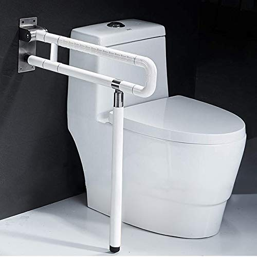 Foldable Toilet Grab Bar 304 Stainless Steel Medical Safety Shower Handrails Anti Slip Bathroom Seat Support Bar Flip-Up Bathtub Grab Arm Bar Hand Grips for Disabled Elderly Handicap Pregnant