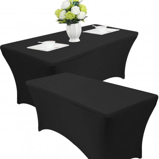 Reliancer 2 Pack 4\6\8FT Rectangular Spandex Table Cover Four-Way Tight Fitted Stretch Tablecloth Table Cloth for Outdoor Party DJ Tradeshows Banquet Vendors Weddings Celebrations(2PC 4FT, Black)