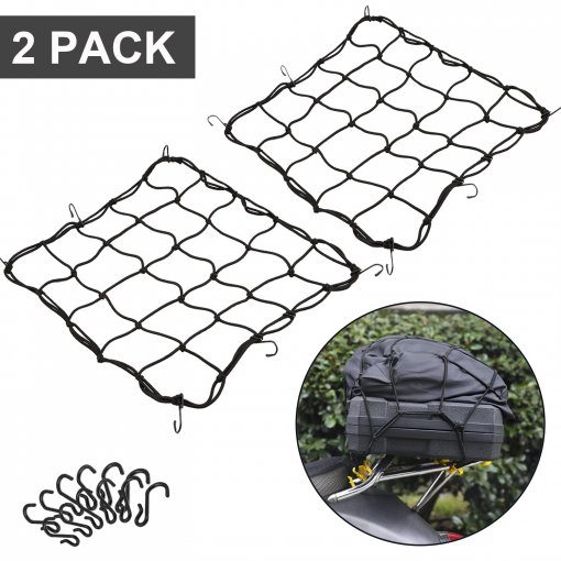 2 Pack of 15.7 x15.7  Bungee Cargo Net Stretches to 30 x30  Elastic Luggage Netting with 12 Metal Hooks Stretchable bungee-cord Mesh Net for Motorcycle Bike Paddle board Quad Canoe Moped ATV