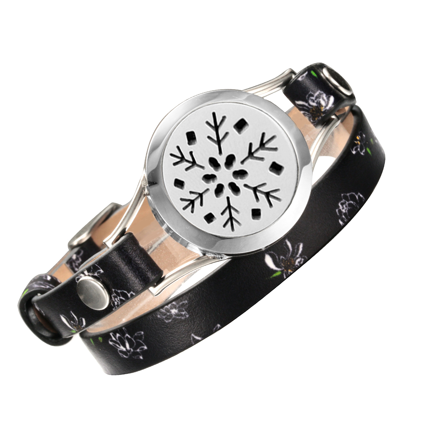 Charm Bracelets for Women diffuser snowflake Stainless Steel Real Leather locket bracelet Aromatherapy Jewelry