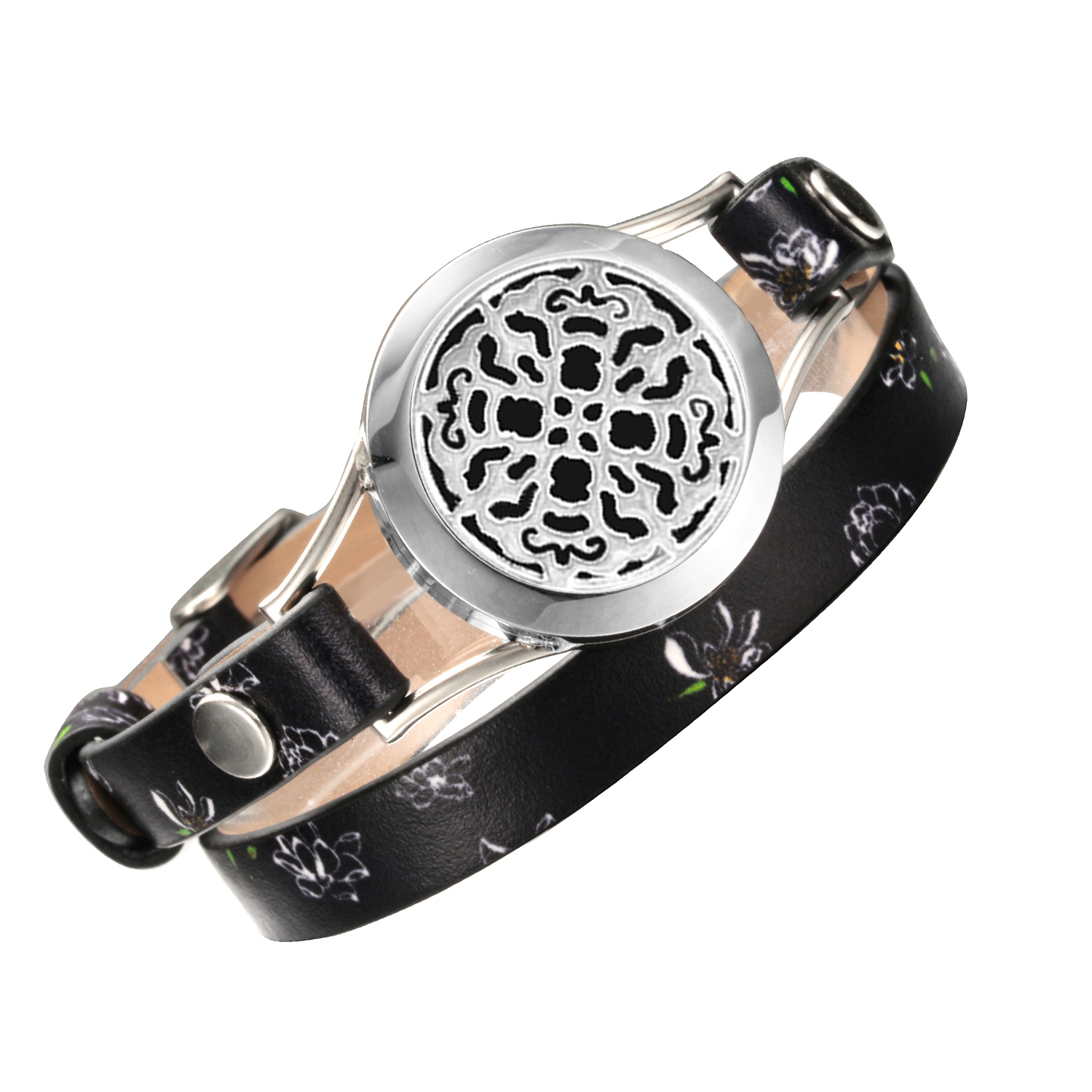 Charm Bracelet Jewelry for Women aromatherapy perfume diffuser Stainless Steel Metal Black Real Leather bracelet