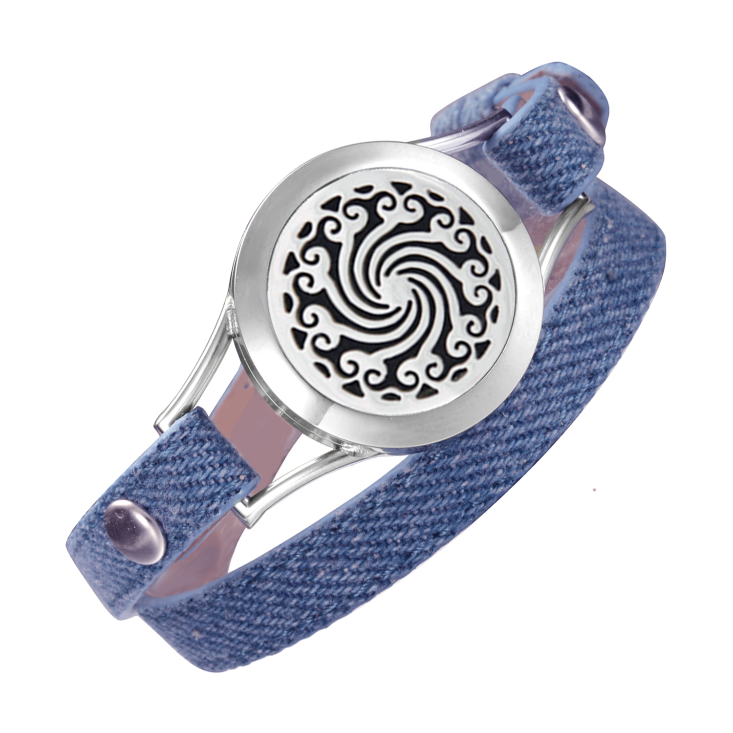 Denim leather bracelet Cowboy lining aromatherapy health locket stainless steel pretty band ladies bracelets for women