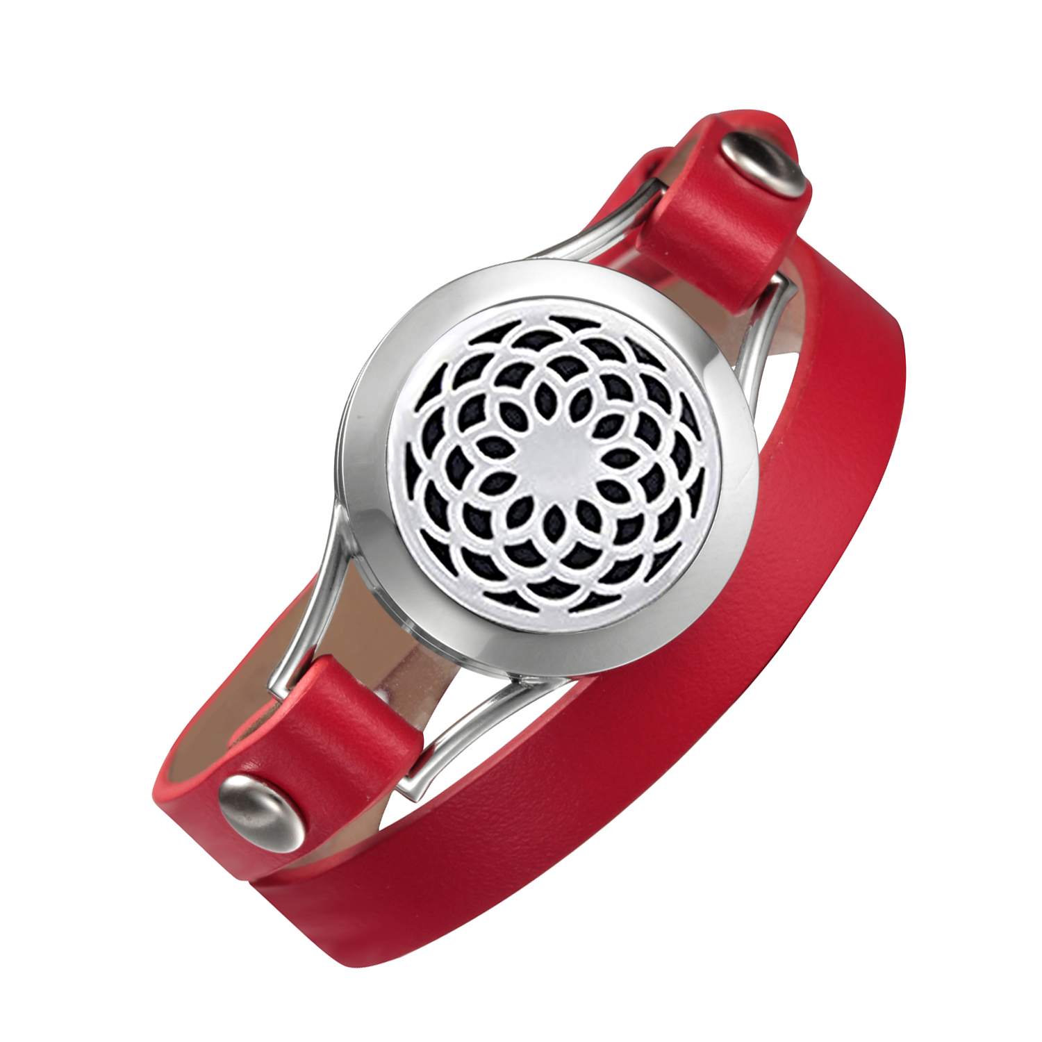Red leather bracelet aromatherapy lockets 316L stainless steel Valentine's Day gift double wrap bracelets for Mother