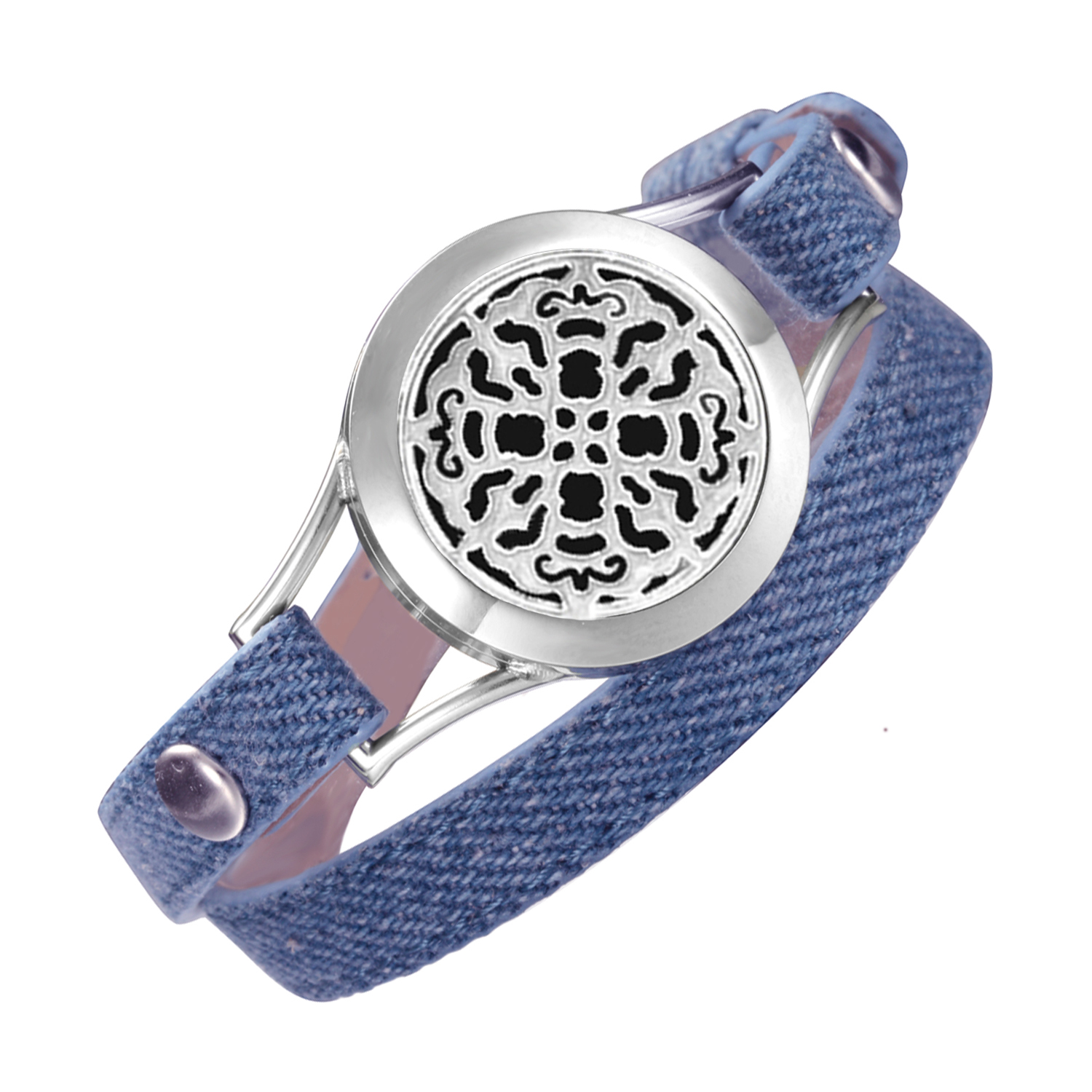 Denim Double leather bracelet 316L Stainless Steel 25mm Locket bracelets for women fashion Aromatherapy wrap Jewelry