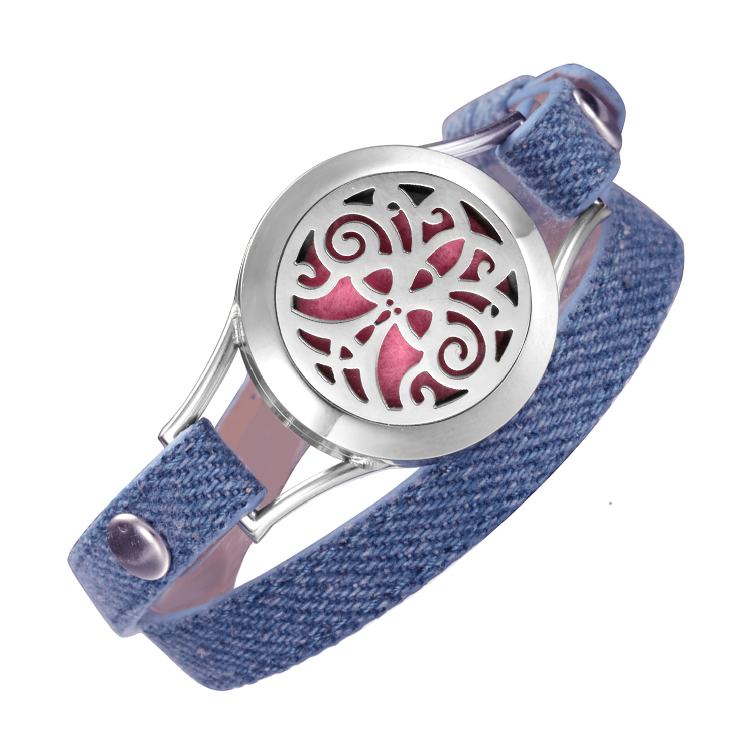 Denim wrap leather bracelets Valentine's Day For Girlfriend Gift Tree of Life aromatherapy oil Daughter diffuser Locket