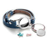 Stainless Steel Real Leather bracelet CZ Mosaic color crystal Campus fresh and leisure jewelry Wholesale customization