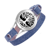 Denim Double leather wrap bracelet Aromatherapy Jewelry Living Memory Locket Tree of life diffuser bracelets for women