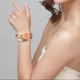 Wrap leather Bracelets for Women Rose Gold color 25mm twist 316L Stainless Steel diffuser Bracelet jewelry & free pads