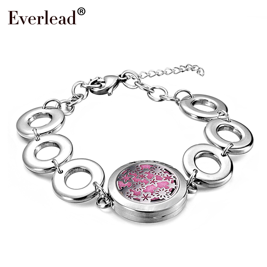 Round Silver color magnetic Aromatherapy locket bracelet Essential Oils Diffuser Locket Bracelet for women girls