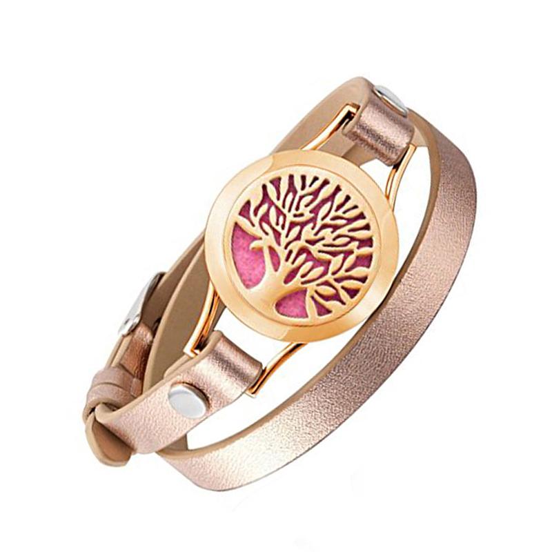 Wrap Bracelets for Women Rose Gold Color tree of life leather locket bracelet aromatherapy perfume diffuser bangle