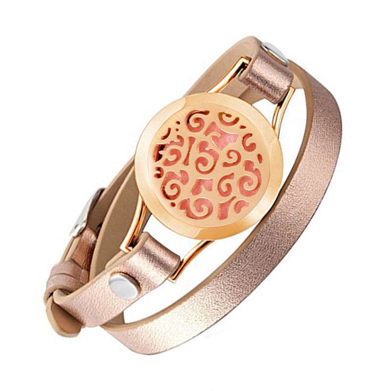 Wrap Bracelets for Women Rose Gold Color Plated bracelet aromatherapy perfume diffuser Bracelets jewelry & free pads