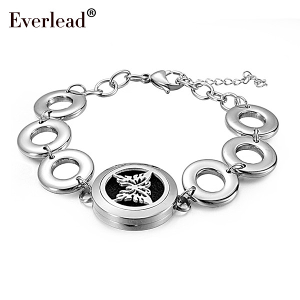 New arrival Round Silver butterfly 25mm Aromatherapy Bracelet Essential Oils Diffuser Locket Bracelet Jewelry with metal band