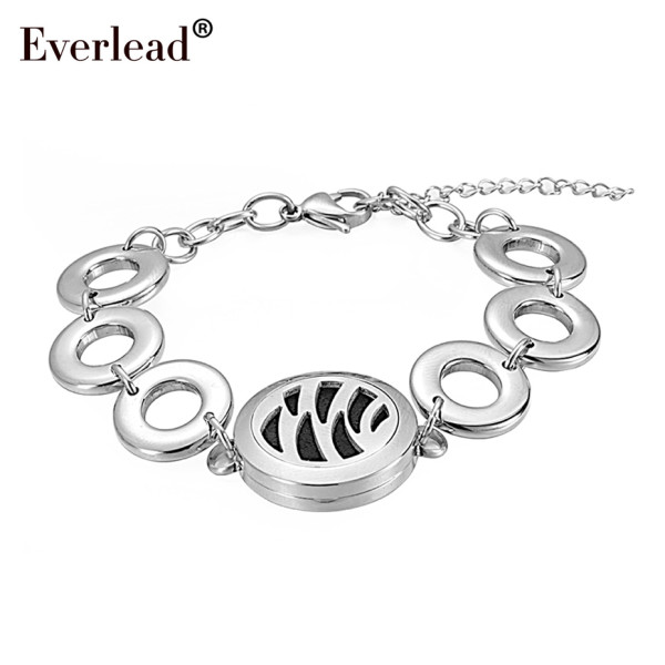 Hot selling 25mm stainless steel magnetic charms locket Bracelets Round Silver locket with Circle Band Aromatherapy Bracelet