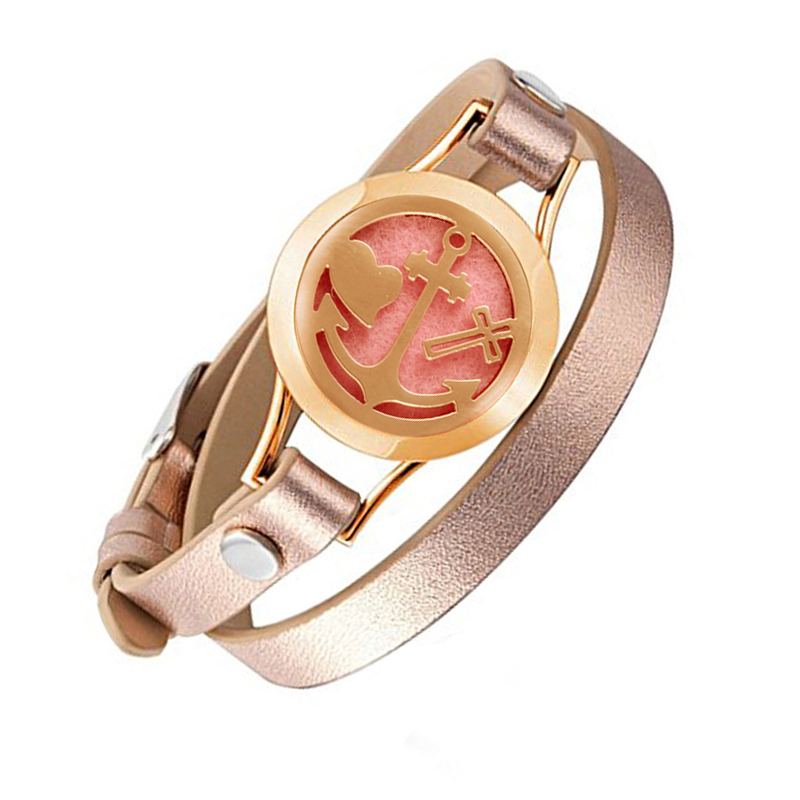 Wrap Bracelets for Women Rose Gold color Anchor heart bracelet aromatherapy perfume diffuser leather Bracelets jewelry