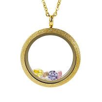 EVERLEAD Living Floating Memory Locket Pendant Necklace Sparkle Gold Vacuum Plating Twist Stainless Steel