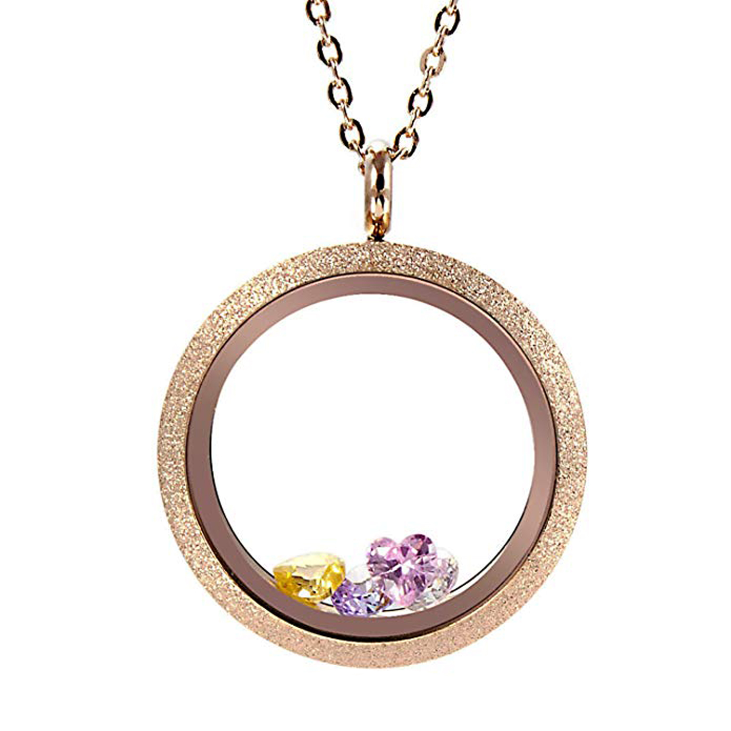 EVERLEAD Round Rose Gold Parkle Glass Floating Locket 316L Stainless Steel Newest 30mm Including Chains and Colorfull Zircon