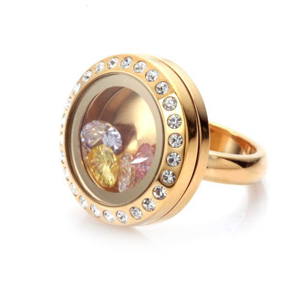 EVERLEAD Latest Open Floating Charm Locket Ring with Crystal (Size 6)