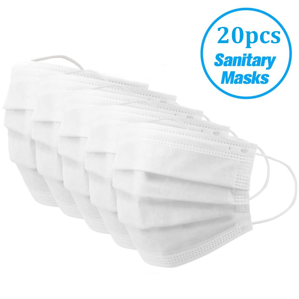 Disposable 3-Ply Face Mask Antiviral Medical Surgical Mask with Earloop Polypropylene Masks for Personal Health - 20 Pieces (White)