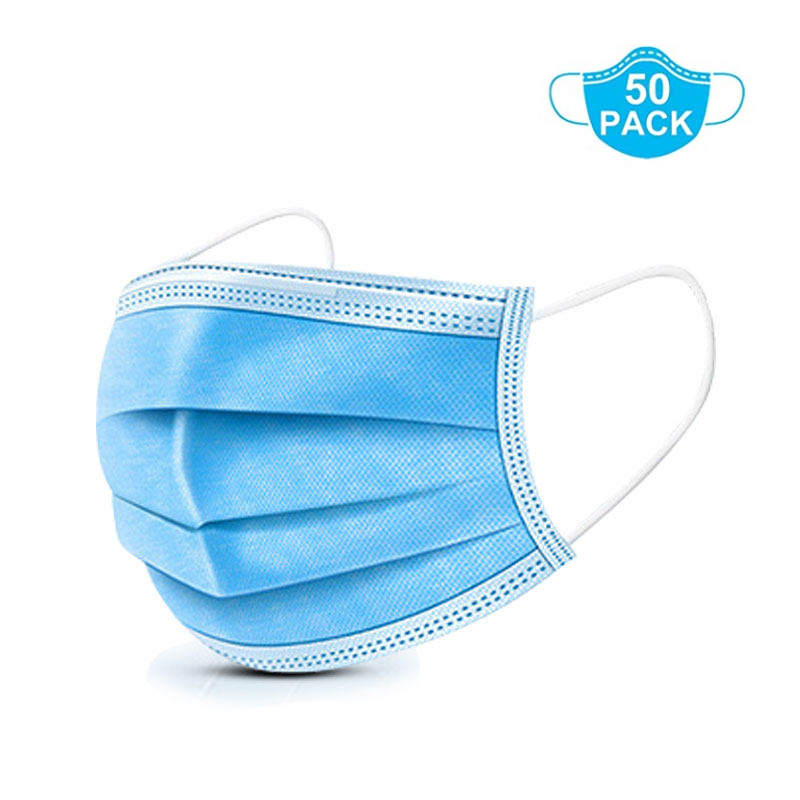 Disposable 3-Ply Face Mask with Earloop  Masks for Personal Health - 50 Pieces (Blue)