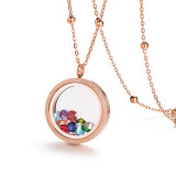 EVERLEAD Round Rose Gold Parkle Glass Floating Locket 316L Stainless Steel Newest 25mm Including Chains and Colorfull Zircon