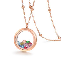 EVERLEAD Rose Gold Locket 316L Stainless Steel Pendant Waterproof Including Chains and Colorfull Zircon