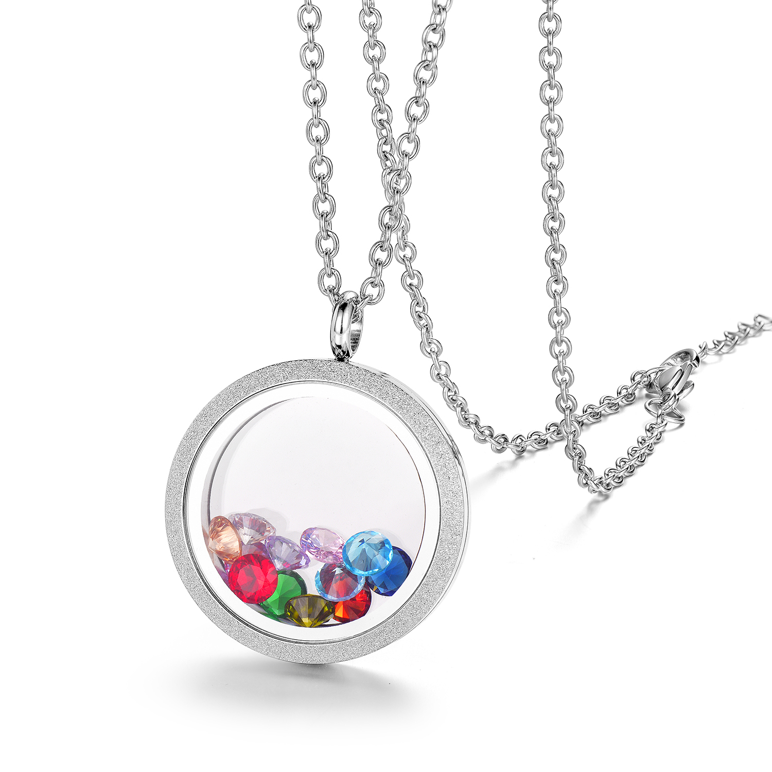 EVERLEAD Sparkle 30mm Floating Locket Screw Stainless Steel Waterproof Pendant Necklace Including Chain