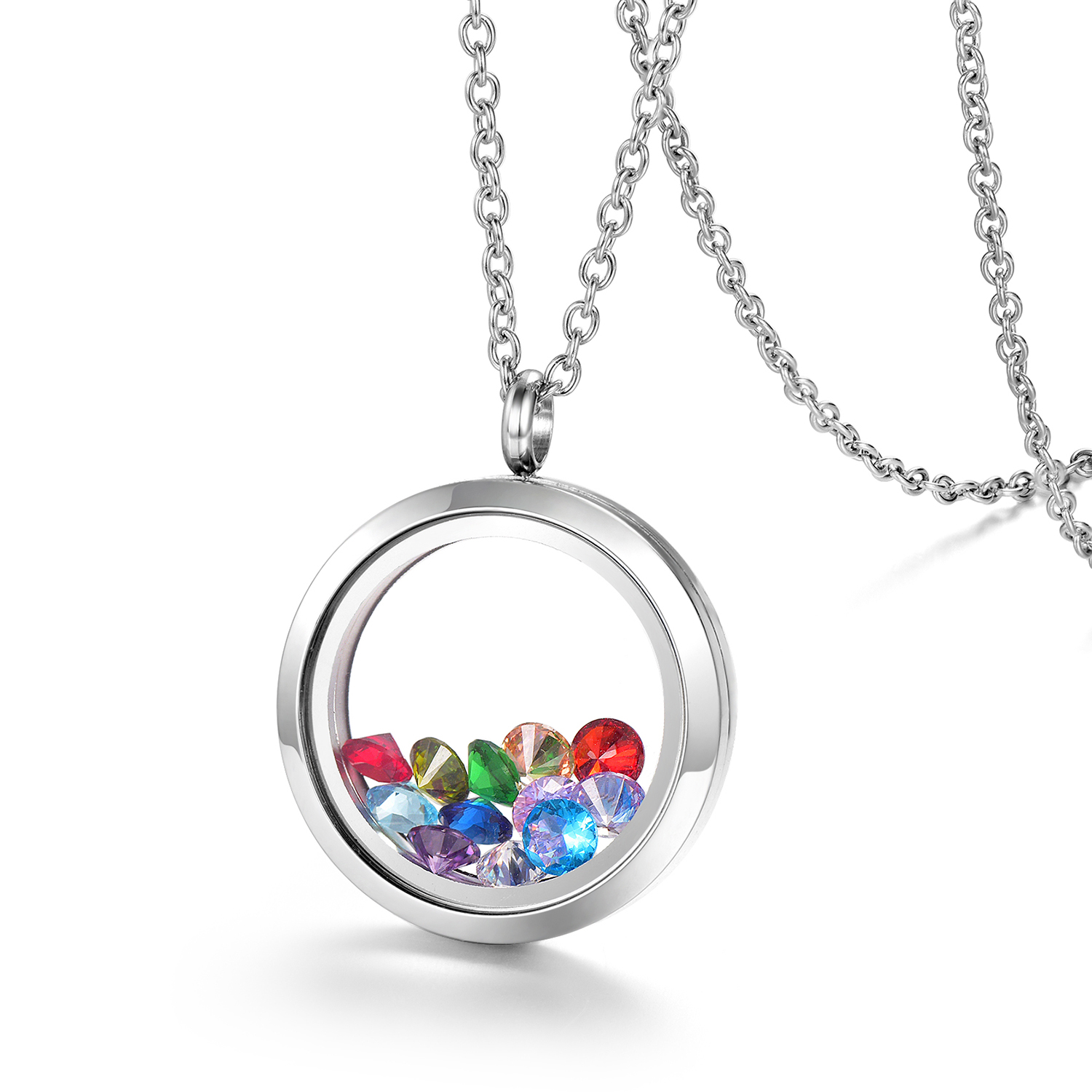 EVERLEAD Living Memory Floating Round Locket Pendant Necklace 30mm  316L Stainless Steel Toughened Glass Free Chain and Zircon