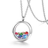 EVERLEAD Living Memory Floating Round Locket Pendant Necklace 25mm 316L Stainless Steel Toughened Glass Free Chain and Zircon