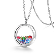 EVERLEAD Living Memory Floating Round Locket Pendant Necklace 20mm 316L Stainless Steel Toughened Glass Free Chain and Zircon