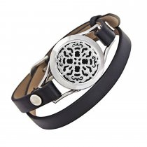 Carving Round Aromatherapy Essential Oils Diffuser Locket Bracelet 316l Stainless Steel Real Leather Bracelet