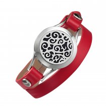 Red leather bracelet aromatherapy lockets Healthy living stainless steel Valentine's Day gift wrap bracelets for Mother