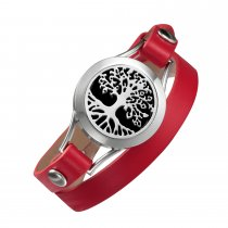 Tree of Life Red 25mm Double wrap leather bracelets For Women Aromatherapy fashion diffuser Mother's Day gift Wholesale