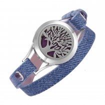 Denim Double wrap leather bracelet Aromatherapy Jewelry Living Memory Locket Tree of Life diffuser bracelets for women