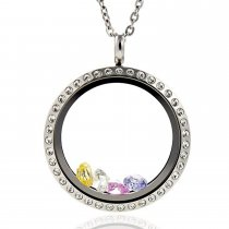 EVERLEAD 316L Stainless Steel Floating Charm Locket living memory locket pendant with Czech Crystals
