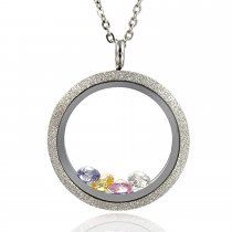 EVERLEAD Sparkle Floating Locket Screw Stainless Steel 25mm Waterproof Pendant Necklace Including Chain