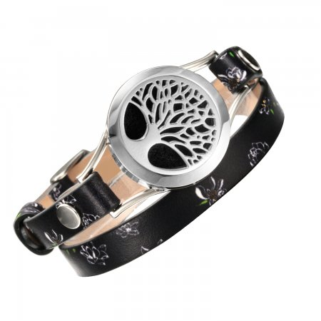 Charm Bracelets Jewelry for Women diffuser tree of life Stainless Steel Black Real Leather locket bracelet&bangle