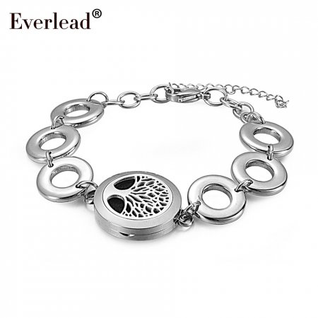 Fashion 25mm 316 stainless steel magnetic essential oil diffuser locket bracelet tree of life aromatherapy bracelet for women