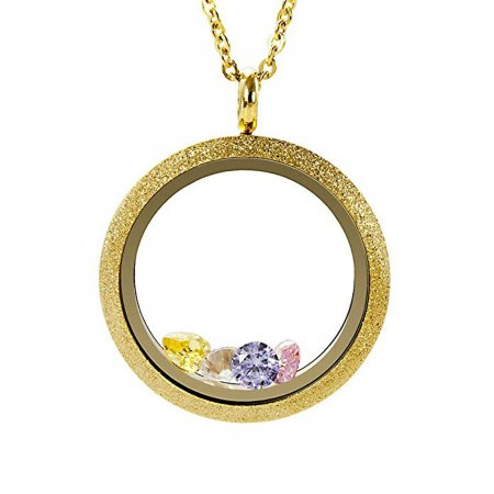 EVERLEAD Living Floating Memory Locket Pendant Necklace Sparkle Gold Vacuum Plating Twist Stainless Steel