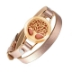 Rose Gold Color Tree Of Life Perfume Diffuser Leather Bracelet