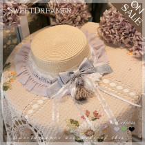SweetDreamer Lolita straw hat with Lace bow Tassel/summer sunshade