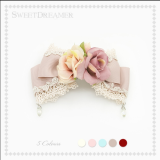 SweetDreamer Anne Garden~Lace crystal hairpin with bow,lolita brooch