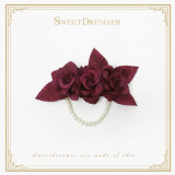 SweetDreamer Vintage Elegant velvet rose hairpin Pearl chain brooch
