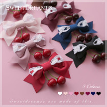 SweetDreamer Dessert party~Sweet Lolita hairpin /side clip with Lace bow&cherry