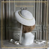 SweetDreamer Tiffany's breakfast ~ Vintage elegant pearl strap wide hat