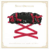 SweetDreamer Lolita headband white Devil's Horn & lace &Pearl chain