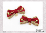 SweetDreamer Golden Brownie~  Double Bowknot Lolita Hairpin with stars