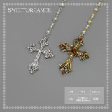 SweetDreamer A maiden's prayer~vintage water drill cross Lolita necklace