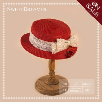 SweetDreamer Sweet Lolita Shading straw hat whit Lace bow&cherry